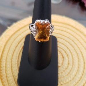 VINTAGE  ☆ Gemstone & Silver Ring,  6, PRETTY!
